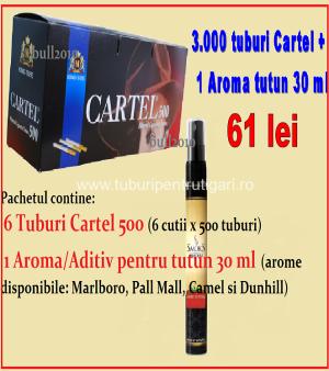 pachet tuburi pentru tigari cartel 500 si aroma 30 ml pentru tutun